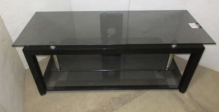 Black Frosted Dark Glass Three-Tier Flat Screen TV Stand, All Metal Based