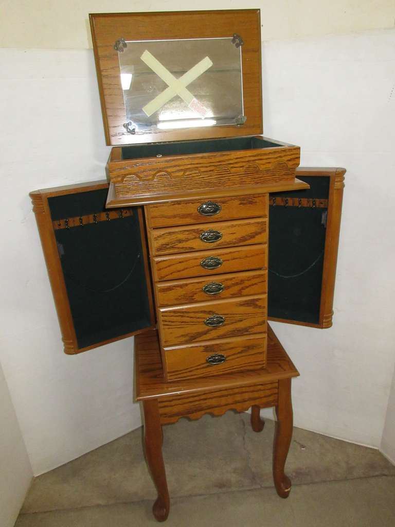 Girls Jewelry Chest, Holds Rings, Necklaces, and Bracelets, Has Two Wing Doors, and Six Drawers, Felt Lined, Has Multiple Hooks
