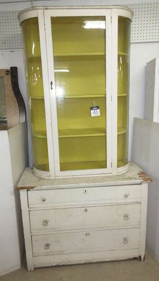 Antique Two-Piece Cabinet with Curved Glass Top