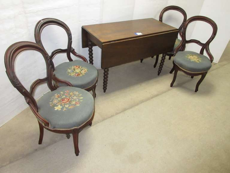 "Dining Room Drop Leaf Table, All Original Solid Wood with Turned Legs, Open- 64"" x 45"", Closed- 21"" x 45""; (4) Matching Wooden Chairs, Open Back, Needlepoint Seats, Springs Need to be Retired"