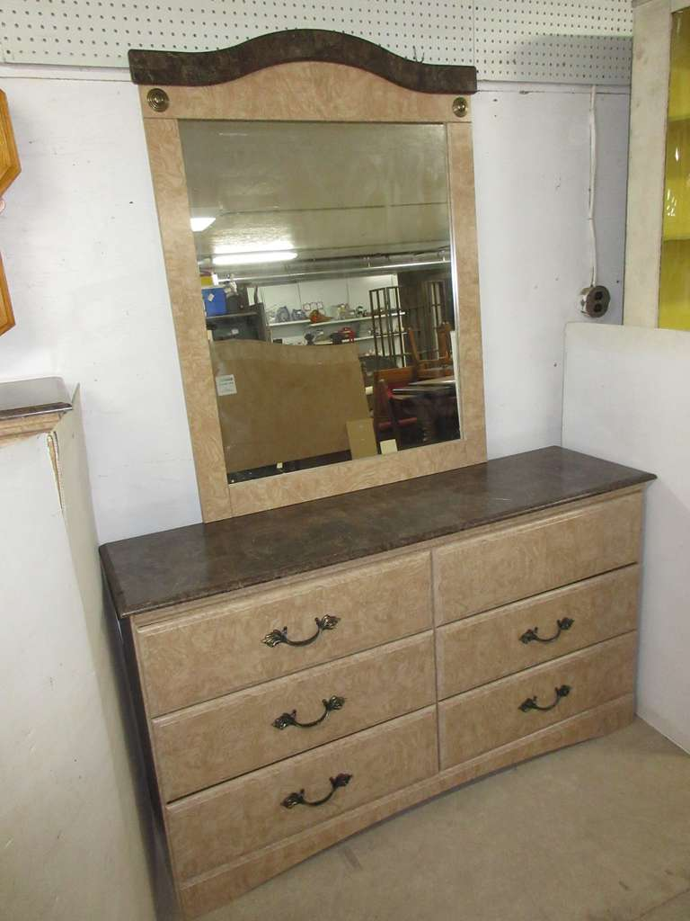 Marble Finish/Grain Topped Long Six-Drawer Dresser with Matching Wall Mirror, Matches Lot Nos. 37 and 38