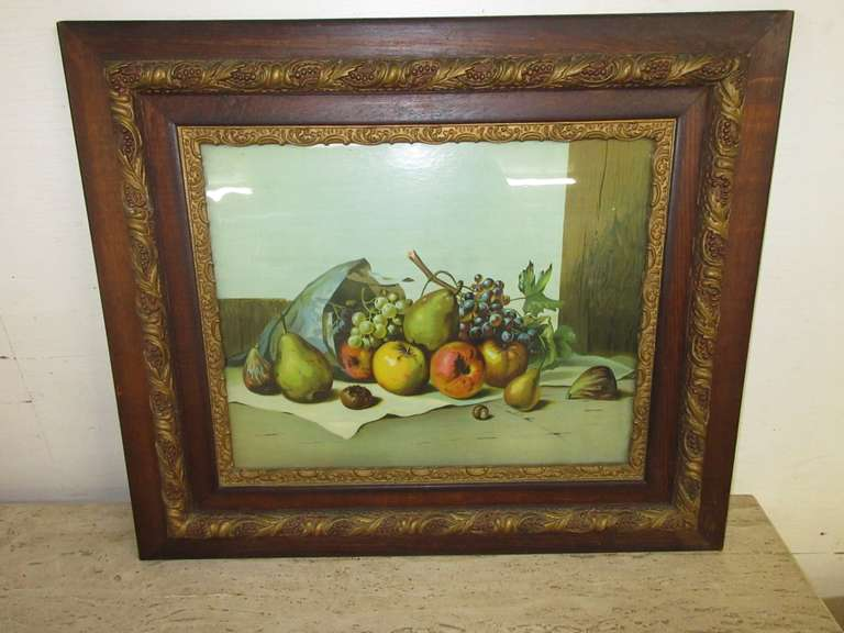 "Very Old Framed Fruit Collection Print, Marked ""Published by Hallen & Weiner, NY"", No. 179, Ornate Frame from Late 19th Century or Early 20th Century Period"