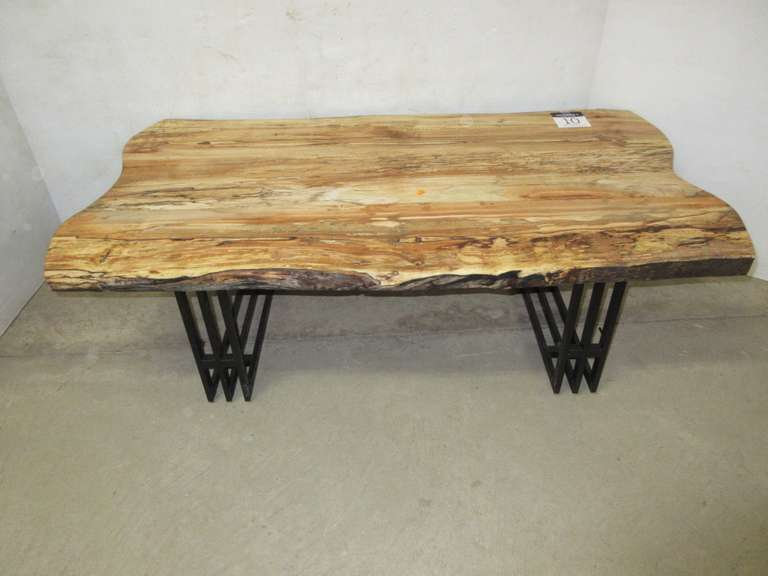 Spalding Maple Coffee Table, Live Edge with Metal Legs