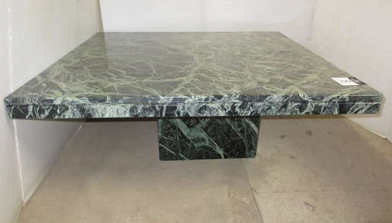 Solid Marble Cocktail Table From Art Van, Very Heavy, Bases are Hollow, Jade Green Tones, Matches Lot No. 6 and 7