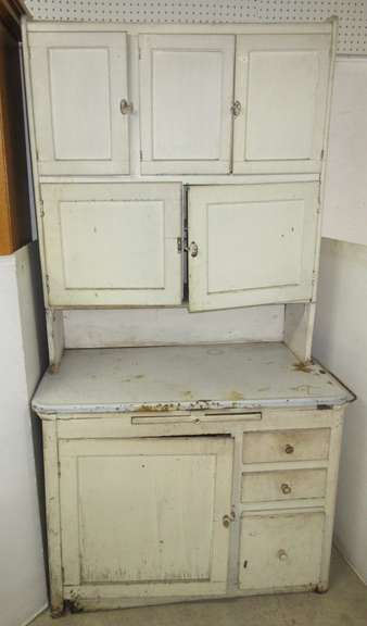 Antique Two-Piece Wooden Hoosier Style Cabinet