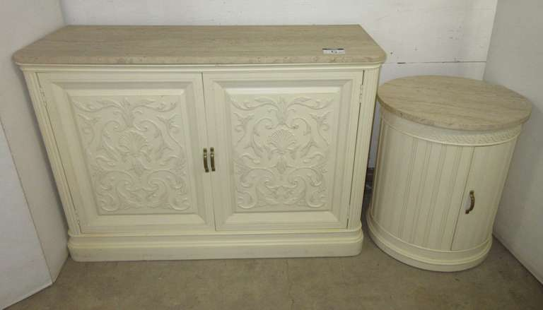 Marble Top Buffet Cabinet with Matching End Cabinet, Top Not Attached