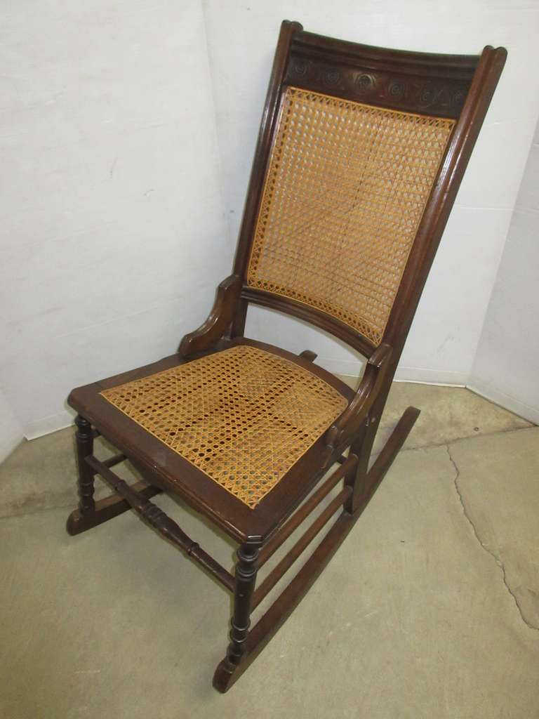 Wooden Wicker Rocker