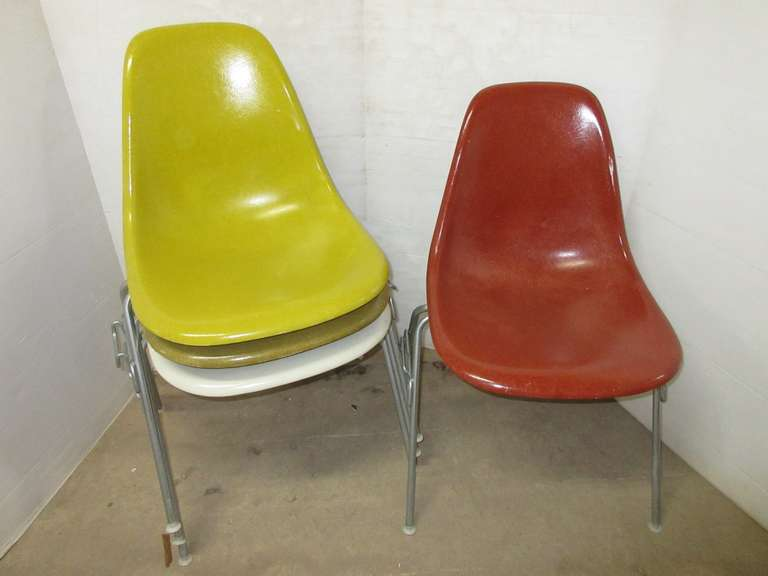Set of (4) Authentic Older Herman Miller Eames Molded Fiberglass Stacking Side Chairs, Various Colors