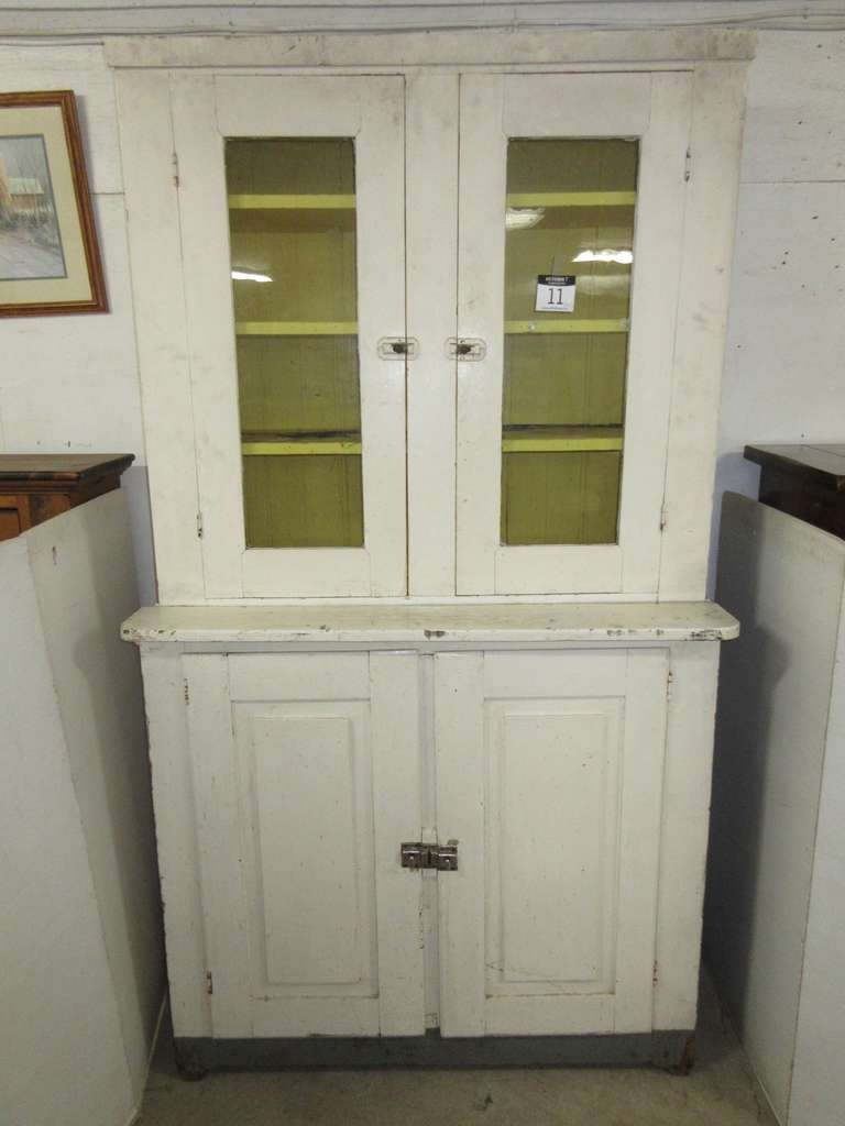 Antique Two-Piece Wooden Hutch with Glass Doors