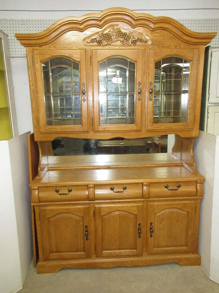 Lighted Two-Piece Oak Finish China Cabinet