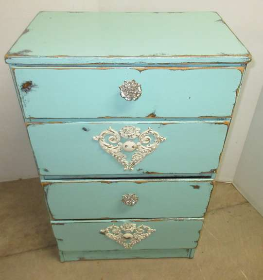 Shabby Chic Blue Chest with Four Drawers