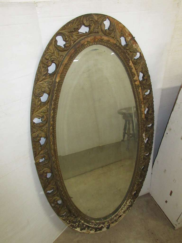 Large Antique Mirror with Beveled Glass