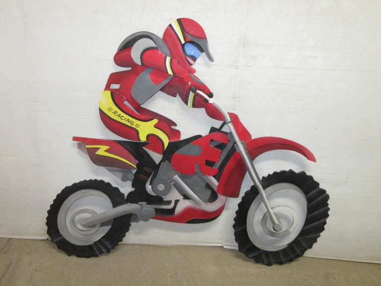 Large Wood Motocross 3D Wall Art