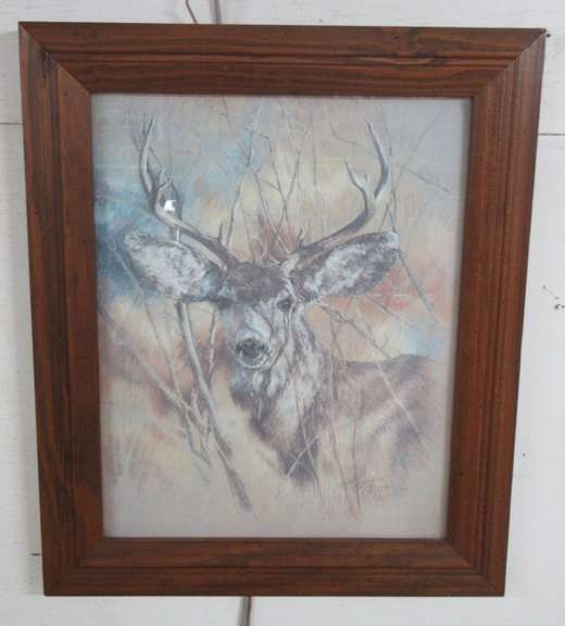 Print of a Large Buck by K. Maroon, 1978, Professionally Framed
