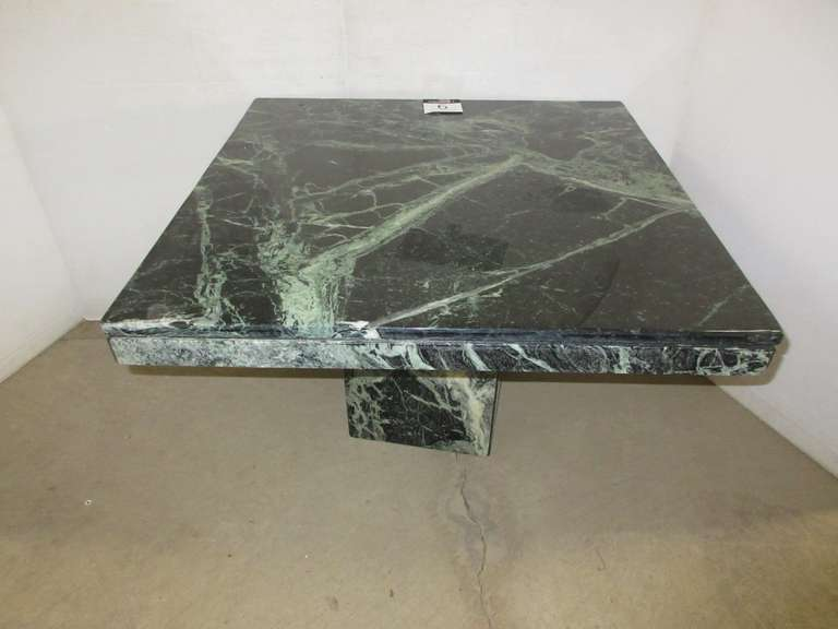 Solid Marble End Table from Art Van, Solid Marble Base is Very Heavy, Base is Hollow, Has Jade Green Tones, Matches Lot Nos. 7 and 8