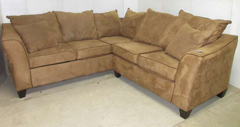 Brown/Tan L-Shaped Living Room Suede Two-Piece Sectional Sofa Couch Set with a Brown Piping Accent and (2) Matching Throw Pillows, Matches Lot No. 34