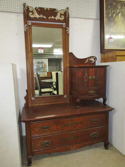 Antique Gentleman's Top Hat Dresser Bachelors Chest with Tilt Mirror