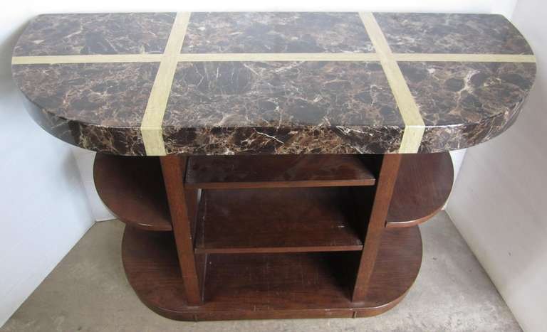 Solid Wood Table with Adjustable Shelves, Faux Stone/Marble Finished Top, Great for Entry, Sofa, or Entertainment Table