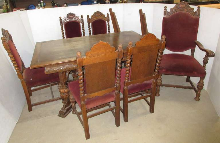 Old Wood Jacobean Room Table with Pull Out Leaves, and (6) Matching Chairs, Matches Lot No. 3