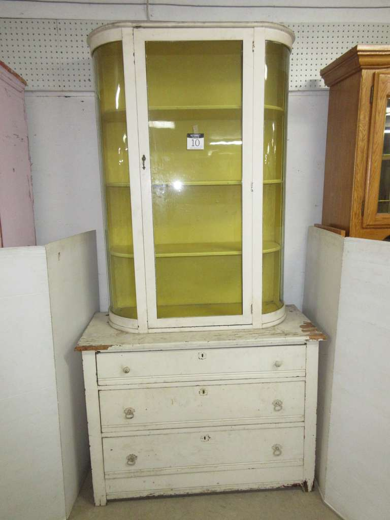 Antique Two-Piece Curved Glass Wood Cabinet, Bottom has Three Pullout Drawers, Top has Curved Glass with Three Shelves