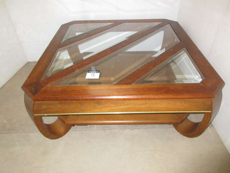 Coffee Table with Glass Inserts on Casters