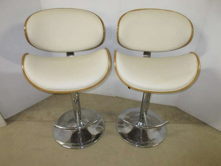 Set of (2) Cream Leather and Walnut Light Wood Framed Mid-Century Lombered Styled Chrome Base Bar/Snack Bar Stools with Adjustable Height