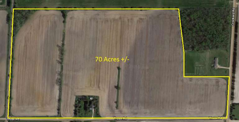 Parcel #1: 70 Acres +/- which includes the home and outbuildings at 755 Truax Rd., Bad Axe, MI.