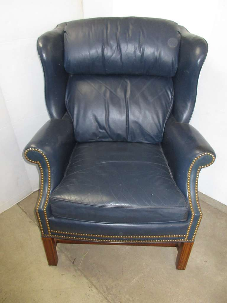 Sherrill Furniture Blue Leather Chair with Brass Accents