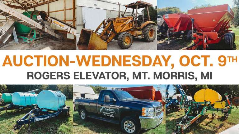 THIS IS AN ADVERTISEMENT for our Rogers Elevator Auction with over (370) Items Selling Wednesday, October 9th.