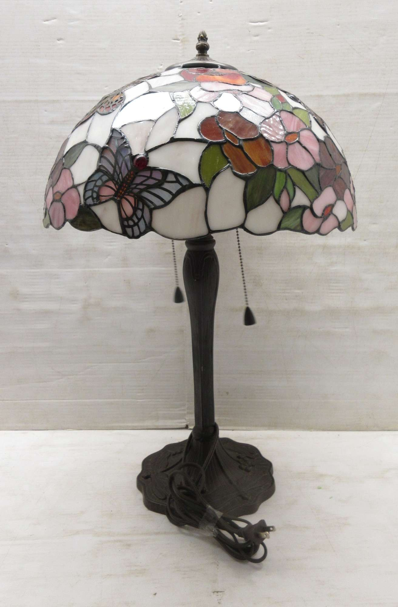Albrecht Auctions Large Dale Tiffany Signed Stained Glass Butterfly Lamp Shade Sets On Bronze Base Double Bulb Gooseneck Base Double Pull Chain On Off Lamp Base May Not Be Original To Tiffany