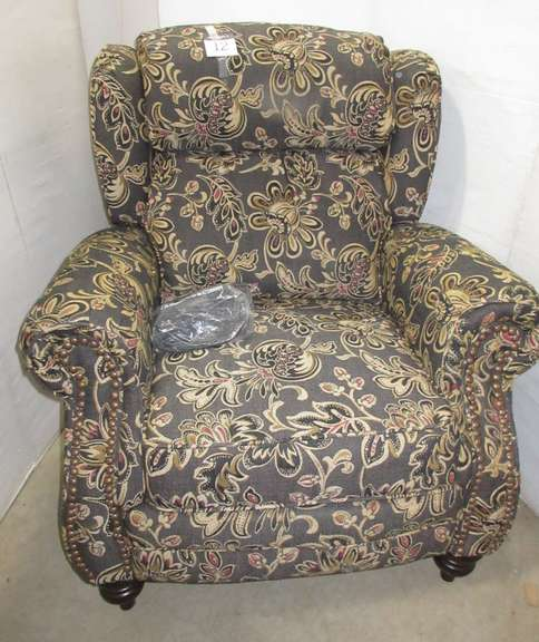 Tack Upholstery Electric Recliner with All Power Cords, Gray with Gold in Color, Back Comes Off for Transport