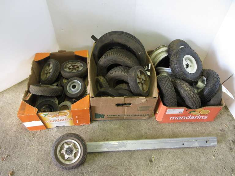 (3)-Boxes of Assorted Wheels (Four of Them are 4.10/3.50-4 Pneumatic)