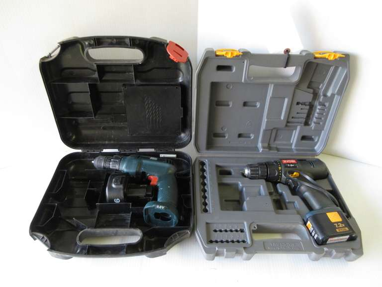 Ryobi 7.2V Drill, No Charger; Black & Decker 9.6V Drill, No Charger, Both As Is