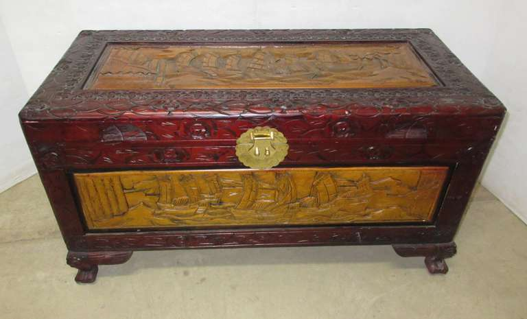 Very Detailed Wooden Chest with Ships Carved in the Top and Sides, Two-Tone Wood