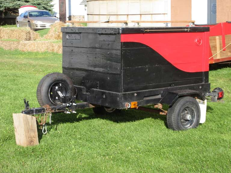 "Shop Built Luggage Style Trailer, 40"" x 49"" x 24"" Deep, Hinged Top, Thought to be 1 7/8"" Ball, 4.80/4.00-8 Tires, Spare Tire, Four-Pin Lights.  Note:  All of the outside equipment items have been stored inside until recently to prepare for the auction!"