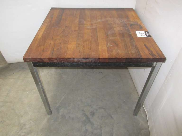Office Table, Wood Joined Top with Chrome Legs