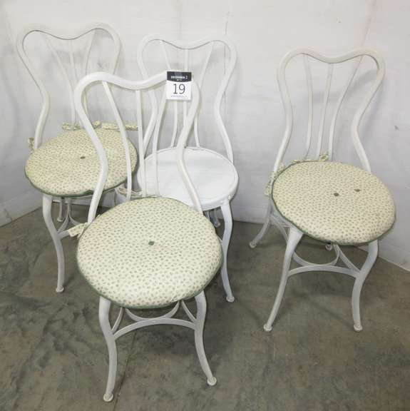 (4) Old Parlor Chairs, Metal and Wood, Matches Lot No. 20