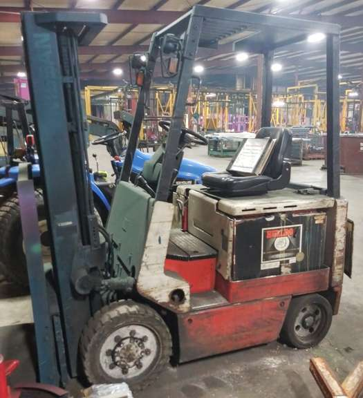 Nissan Electric Fork Truck, Serial No. CWP02L25FS, 4000 lb. Lift, 36 Volt, Side Shift, Auto 6000 Charger, Batteries are New, Does NOT Currently Run, Selling As Is