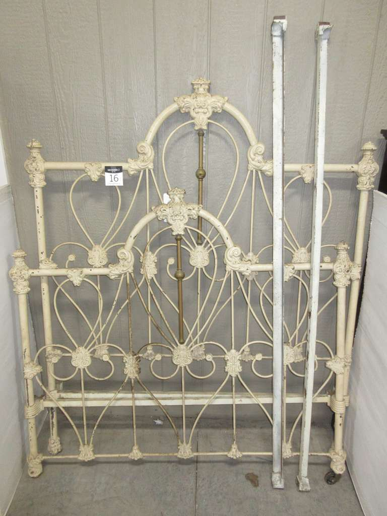 Antique Ornate Iron and Brass Bed, Double Bed Size, Has Side Rails