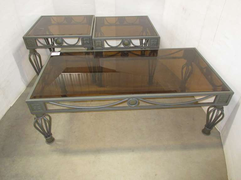 Set of (3) Gray Metal Scrolled Accent Living Room Coffee/End Tables with Frosted/Tinted Glass Inserts