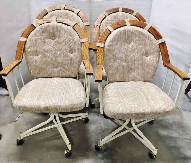 (4) Metal Base Wood Trimmed Cloth Kitchen Chairs