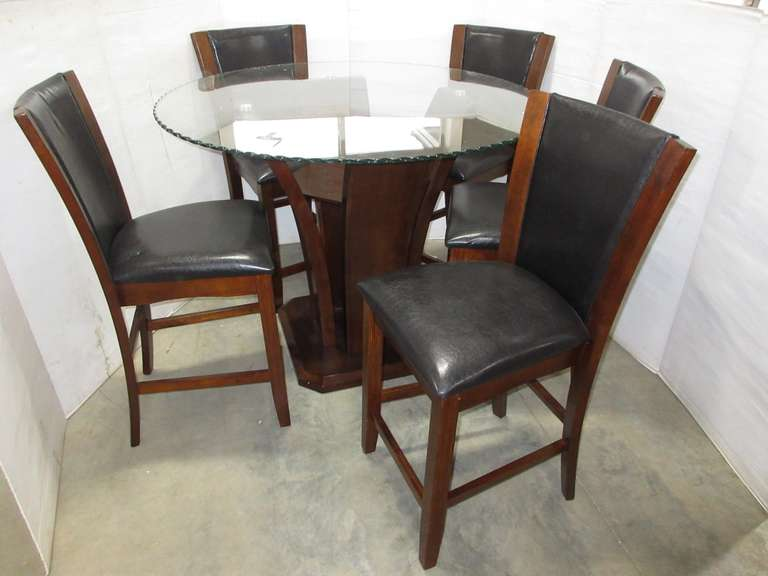 Dark Wood Glass Top Tulip Based Style Kitchen Table with (5) Matching Leather Padded Pub Height Chairs