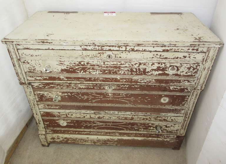 Three-Drawer Antique Wood Dresser, Painted, Carved Accents