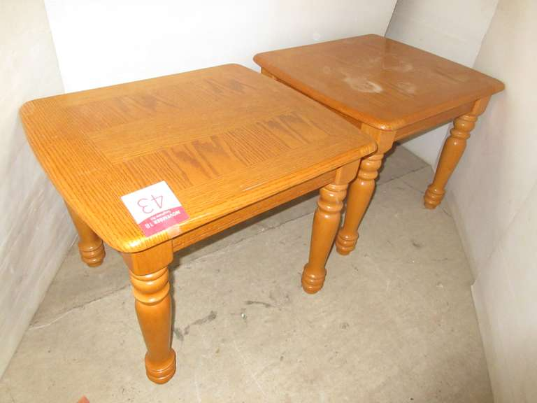 (2) Oak End Tables, Inlaid Wood, Matches Lot No. 42