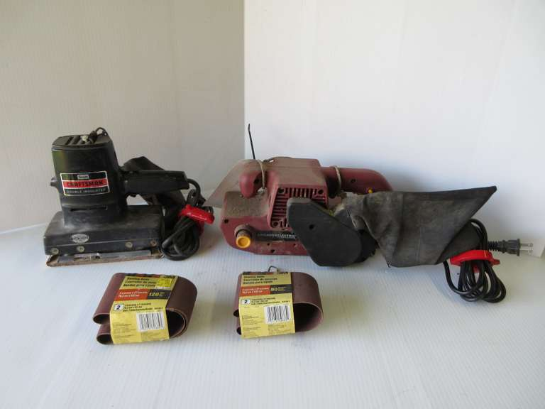 "Chicago Electric 3"" x 21"" Belt Sander with (2)-Extra Belts; Craftsman Pad Sander, Working"