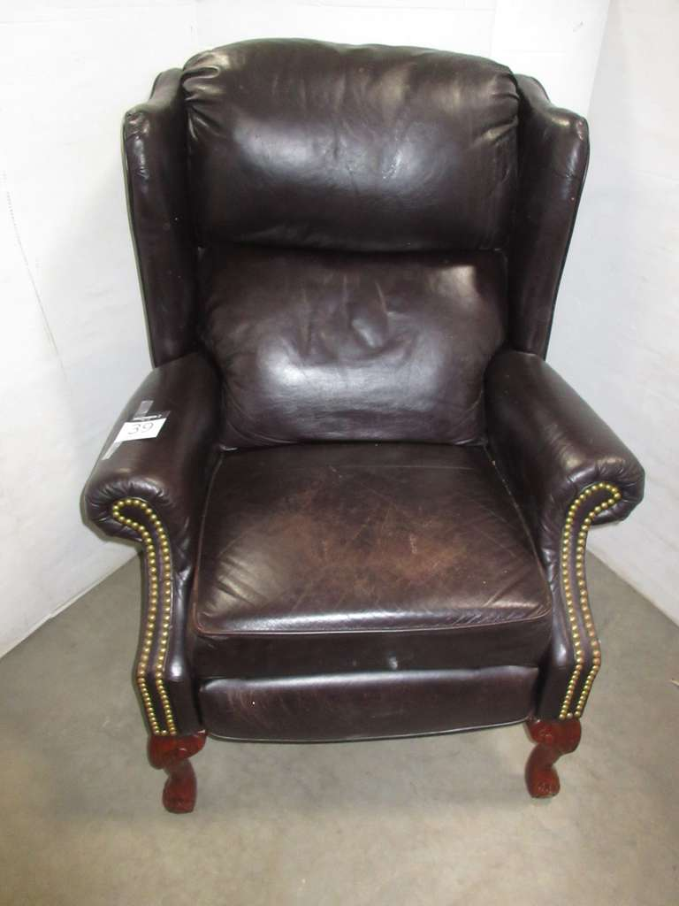 Older Brown High Back Tack Upholstery Leather Recliner