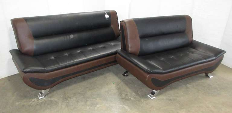 Black/Brown Leather Type Couch and Loveseat