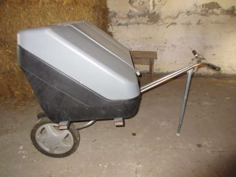 """Steel"" Storage Plastic Tote on Rolling Cart with Hitch Receiver"