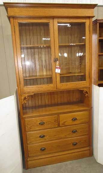Antique Oak Two-Piece Cabinet with Drawers, Original Glass Doors, and Adjustable Shelves