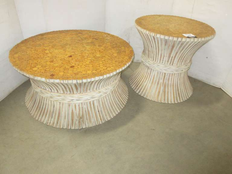 Set of (2) Mid-Century Modern McGuire Bamboo Wheat Sheaf Rattan Coffee/End Table Set